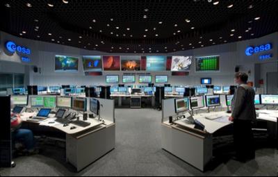 ESA Hauptkontrollraum in Darmstadt. Bild: ESA / ESA main control room in Darmstadt. Picture: ESA